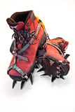 Climbing boots. Climbing gear, boots and crampons Royalty Free Stock Photography