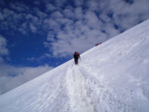 Climbing breithorn Royalty Free Stock Image