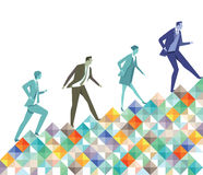 Climbing business professionals. Business professionals illustrated climbing colorful incline Stock Photography