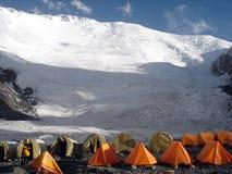 Climbing camp under the mountain Stock Photo