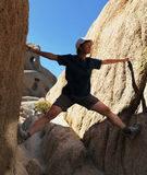 Climbing in canyon Royalty Free Stock Images
