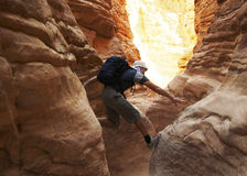 Climbing in canyon Stock Photography