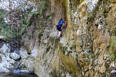 Climbing in the canyon Royalty Free Stock Images