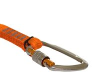 Climbing carabiner. Isolated on white background royalty free stock photo