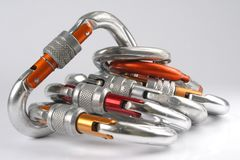 Climbing carabiners. Sport equipment isolated Royalty Free Stock Photography