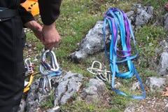 Climbing carabiners Stock Photo