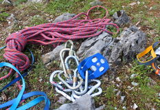 Climbing carabiners and ropes Royalty Free Stock Images