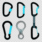 Climbing carabiners set quickdraw and figure eight descender Royalty Free Stock Photo