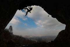 Climbing cave research. An extraordinary summit of the mountain caves and Roman ruins Royalty Free Stock Image