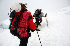 Climbing on Chipicalqui Glacier to camp 2 Stock Images