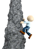 Climbing  a cliff. 3d people - men, person climbing  a cliff Royalty Free Stock Photography