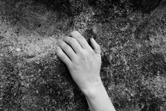 Climbing. Climber´s hand on the rock stock images