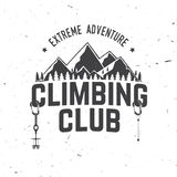 Vintage typography design with carabiners, condor and mountain silhouette. Climbing Club badge. Vector. Concept for shirt or logo, print, stamp or tee. Vintage Royalty Free Stock Image