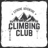 Vintage typography design with carabiners, condor and mountain silhouette. Climbing Club badge. Vector. Concept for shirt or logo, print, stamp or tee. Vintage Stock Photography