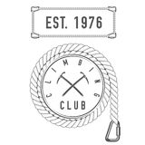 Climbing Club - Mountain Adventure - Alpine Trip Vector Emblem - Icon - Print - Badge Template. In Vintage Black and White Style. Concept for Shirt or Label Royalty Free Stock Photos