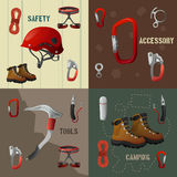 Climbing concept flat 4 icons banner Stock Photography