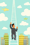 Climbing the Corporate Ladder. A businessman climbing the corporate ladder. He's CEO material for sure. Just check out that hair royalty free illustration