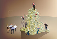 Climbing the corporate ladder. Illustration of a business people climbing a pile of money Royalty Free Stock Photography
