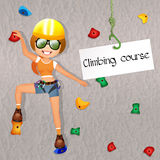 Climbing course. Illustration of girl on wall Royalty Free Stock Photos