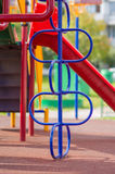 Climbing and crawling constructions on playground Royalty Free Stock Images