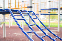 Climbing and crawling constructions on playground Stock Photo