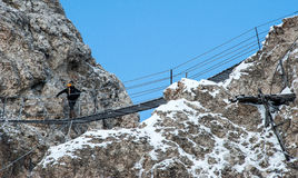 Climbing in Cristallo mountain. Dolomites Stock Images