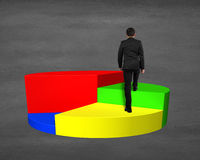 Climbing on 3d pie chart Stock Images