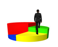 Climbing on 3d pie chart Royalty Free Stock Images