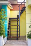 Climbing the deck. House stairs for climbing the deck royalty free stock photo