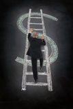 Climbing dollar ladder Stock Images