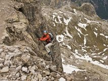 Climbing in Dolomites Royalty Free Stock Photography