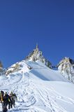 Climbing down from the aiguille du midi Stock Image