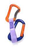 Climbing equipement - two carabiners. Climbing equipment - Ice and rock Royalty Free Stock Photo
