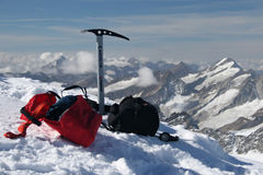 Climbing equipment. Ice axe in teh mountains stock image