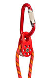 Climbing equipment. Pulley, rope, carabiner; isolated on white background Stock Photo