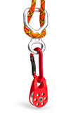 Climbing equipment. Pulley, rope, carabiner, figure eight; isolated on white background stock images