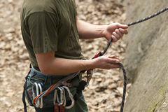 Climbing equipment. Helmet and rope Royalty Free Stock Image