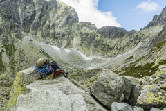 Climbing equipment against Tatra ridge Stock Photo