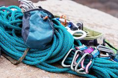 Climbing equipment - A bag for magnesia lies on a climbing rope Royalty Free Stock Photography