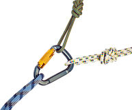 Climbing equipment - carabiner and rope Royalty Free Stock Photo