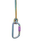 Climbing equipment - carabiner and rope Royalty Free Stock Photos