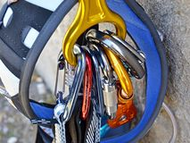 Climbing equipment - carabiners and harness Stock Photos