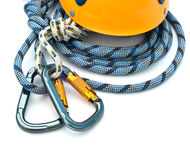 Climbing equipment - carabiners, helmet and rope Royalty Free Stock Photography