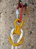 Climbing equipment - carabiners and rope Stock Photo