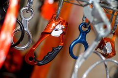 A carabiner or karabiner. Is a specialized type of shackle, a metal loop with a spring-loaded gate used to quickly and reversibly connect components, most royalty free stock photography