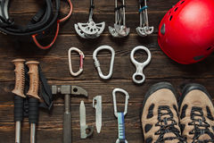 Climbing equipment  on dark wooden background, top view Stock Image