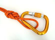 Climbing equipment - detail carabine and knot Stock Image