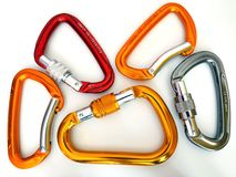 Climbing equipment- five multicolor carabiners Stock Images