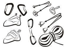 Climbing equipment goods and stuff. Climbing goods and stuff isolated icons in simple black lines stock illustration