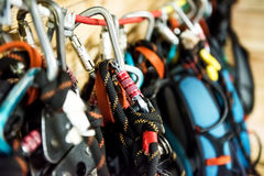 Climbing equipment hung on a rope Royalty Free Stock Images